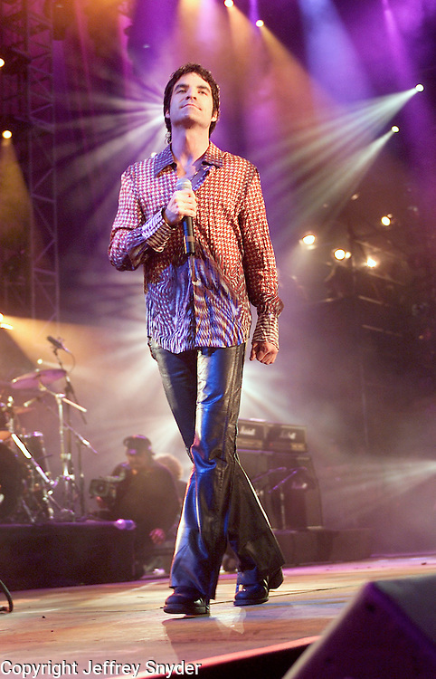 Train onstage performing at the United We Stand: What More Can I Give? Concert a music benefit in the Nation's Capital to raise money in support of the recovery efforts from the September 11th attacks on America. The proceeds will go to various relief funds.  October 21, 2001 (Photo: Jeff Snyder