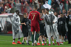 June 7, 2018 - Lisbon, Portugal - Portugal's forward Cristiano Ronaldo shake hands with young fans after the FIFA World Cup Russia 2018 preparation football match Portugal vs Algeria, at the Luz stadium in Lisbon, Portugal, on June 7, 2018. (Portugal won 3-0) (Credit Image: © Pedro Fiuza/NurPhoto via ZUMA Press)