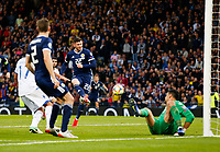 Football - 2018 / 2019 UEFA European Championship Qualifier - Group I: Scotland vs. Cyprus<br /> <br /> Oliver Burke of Scotland scores to make it 2-1 during the European Championship Qualifying match between Scotland and Cyprus, at Hampden Park, Glasgow.<br /> <br /> COLORSPORT/BRUCE WHITE