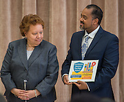 Agnes Perry and Ramon Moss react during a Children at Risk awards presentation to area schools at Pilgrim Academy, June 6, 2016.