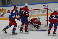 April 27, 2017 - Saint Petersburg, Russia - Of The Russian Federation. Saint-Petersburg. Palace of sports ''Jubilee.'' The Cup - ''ALROSA''. Olympic team Russia hockey team beat Norway with the score 8:2..The player of national team of Russia on hockey Alexander Dergachev. (Credit Image: © Russian Look via ZUMA Wire)