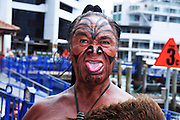 New Zealand, North Island, Rotorua, Maori native man with tattoos and body paint