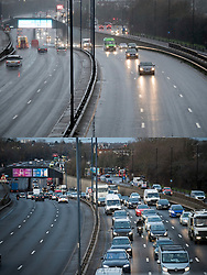 © Licensed to London News Pictures. 21/12/2020. London, UK. Comparison image showing light traffic heading in to London on the A40 at Perivale at rush hour this morning, Monday (TOP) under tier 4, and the same scene on Wednesday last week (BOTTOM) under tier 3. New tier 4 rules have further restricted travel for people in London and the South east. Photo credit: Ben Cawthra/LNP