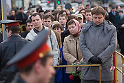 Moscow, Russia, 24/04/2007..The body of former Russian President Boris Yeltsin lies in state in the Cathedral of Christ the Saviour as mourners visit to pay their last respects. Police control crowds outside the cathedral.
