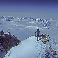 ANTARCTICA. Mountaineering. Mike McDowell atop 15,292' (4661m) Mount Shinn, third highest peak on continent. (Ellsworth Mountains)