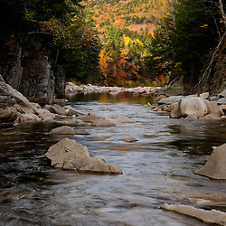 The Swift River in fall as it flows through Rocky Gorge in New Hampshire's White Mountains