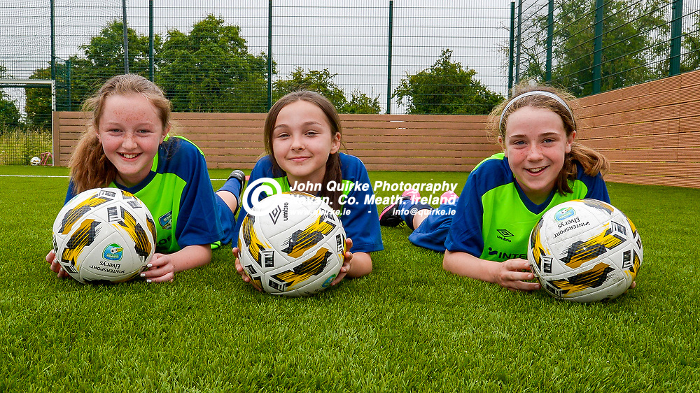 From left: Katie McNally, Hannah Byrne and Sarah Burke having fun    at the FAI Summer Soccer Schools at MDL, Navan.<br /> <br /> Photo: GERRY SHANAHAN-WWW.QUIRKE.IE<br /> <br /> 01-07-2021