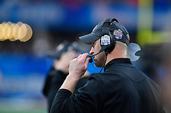UCF Knights head coach Scott Frost works the sidelines against Auburn University during the Chick-fil-A Peach Bowl NCAA college football game January 1, 2018, in Atlanta. (David Tulis via Abell Images for Chick-fil-A Peach Bowl)