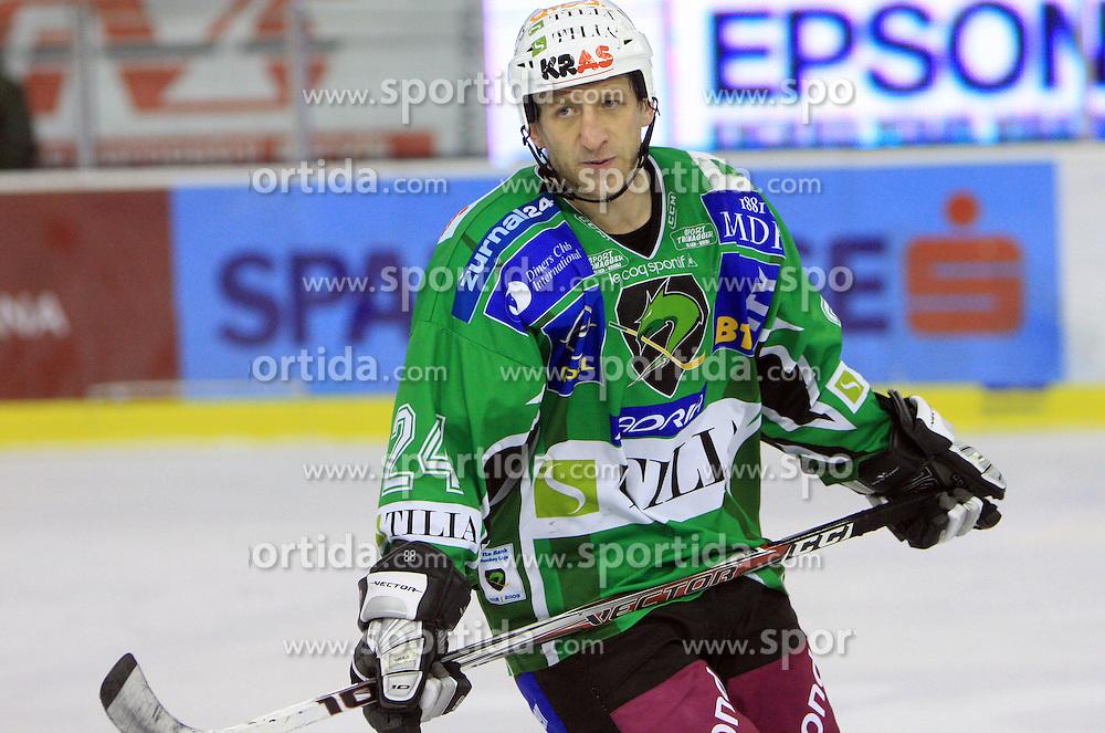 Tomaz Vnuk at 39th Round of EBEL League ice hockey match between HDD Tilia Olimpija and HK Acroni Jesenice, on December 30, 2008, in Arena Tivoli, Ljubljana, Slovenia. Tilia Olimpija won 4:3. (Photo by Vid Ponikvar / SportIda).