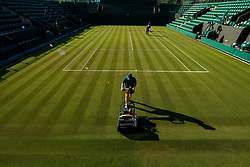 July 2, 2018 - London, U.S. - LONDON, ENG - JULY 02: early morning landscaping before day one matches of the 2018 Wimbledon on July 2, 2018, at All England Lawn Tennis and Croquet Club in London,England. (Photo by Chaz Niell/Icon Sportswire) (Credit Image: © Chaz Niell/Icon SMI via ZUMA Press)
