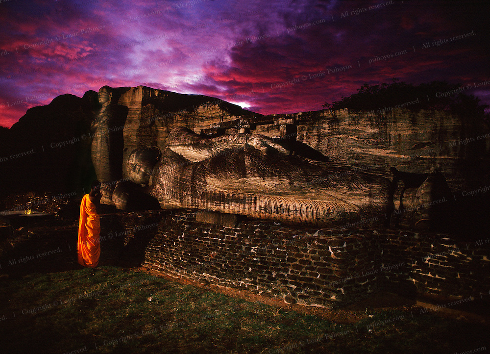 The Buddhas of Polonnaruwa are carved out of a single block of granite and date back to the 10th century.  About 90 miles (140K) north of Kandy they are a sacred site and one of the most visited sites in Sri Lanka.
