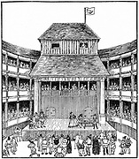 Artist's reconstruction of a Theatre of Playhouse in the time of Elizabeth I. Woodcut.