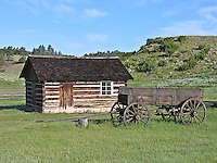 An old wagon and cabin at the 1887 homestead of Adaline Hornbek and family.  Florissant Fossil Beds National Monument, Colorado.