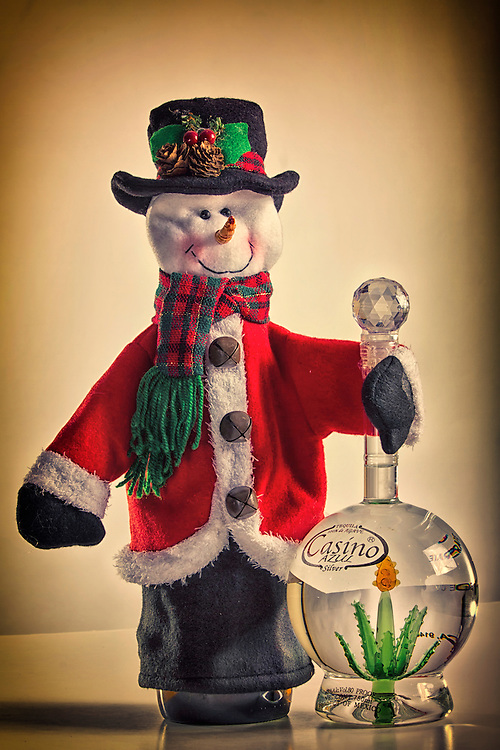 Snowman stay warm with Casino Tequila during the winter and Christmas season.