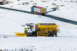 © Licensed to London News Pictures. 27/02/2020. Gearstones UK. A snow plough clears roads around Gearstones in the Yorkshire Dales this morning after heavy snowfall last night. Photo credit: Andrew McCaren/LNP