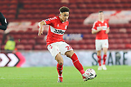 Middlesbrough midfielder Marcus Tavernier (28) plays a through ball during The FA Cup 3rd round match between Middlesbrough and Peterborough United at the Riverside Stadium, Middlesbrough, England on 5 January 2019.