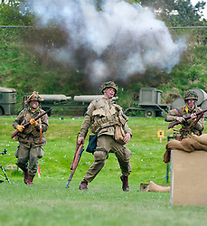 Reenactor of the NWW2A Portraying a paratroopers from the US 82nd Airborne Division during a battle reenactment at Fort Paull on Sunday <br /> <br /> 5 May 2013<br /> Image © Paul David Drabble