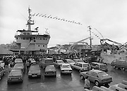 """Supertrawler arrives at Killybegs..1986..17.05.1986..05.17.1986..17th May 1986..""""Atlantic Challenge"""" the new IR£6million supertrawler,the flag ship of the Irish fishing fleet arrived at Killybegs today. The vessel was built for Killybegs' Enterprises in Bergen,Norway. Killybegs' Enterprises also have """"Western Viking"""".""""Jasper Sea"""" and""""Silver King""""supertrawlers in their fleet..The vessel will be skippered by Mr Martin Howley who originally trained with B.I.M.s National Fishery Training Centre, Greencastle..The company plans to fish for non-quota stocks such as Blue Whiting and Horse Mackerel,her fishing pattern will lessen dependence on mackerel as quotas are low for the Irish fleet...Image shows the hordes of wellwishers on the quayside as the """"Atlantic Challenge"""" docks against the harbour wall."""