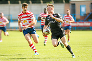 Bradford Bulls scrum half Cory Aston (41) breaks free to score the fourth try during the Kingstone Press Championship match between Oldham RLFC and Bradford Bulls at Bower Fold, Oldham, United Kingdom on 13 August 2017. Photo by Simon Davies.