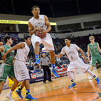 031314  Adron Gardner/Independent<br /> <br /> Laguna Acoma Hawk David McGee (42) elevates for rebound during the state high school basketball tournament at the Santa Ana Star Center in Rio Rancho Thursday.
