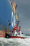 San Francisco Bar Pilot Dave McCloy boards the CMA CGM ORFEO just inside the Golden Gate