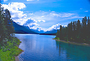 Scenic Maligne Lake in Jasper National Park.