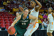 March 18, 2016; Tempe, Ariz;  Green Bay Phoenix guard Allie LeClaire (24) drives past Tennessee Lady Volunteers guard Diamond DeShields (11) during a game between No. 7 Tennessee Lady Volunteers and No. 10 Green Bay Phoenix in the first round of the 2016 NCAA Division I Women's Basketball Championship in Tempe, Ariz.