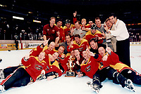 22 August 1999 RHI St. Louis Vipers beat the Anaheim Bullfrogs 8-6 at the Arrowhead Pond in Anaheim for the Championship.  ©ShellyCastellano  <br /> Roll 4 frame 21 color negative