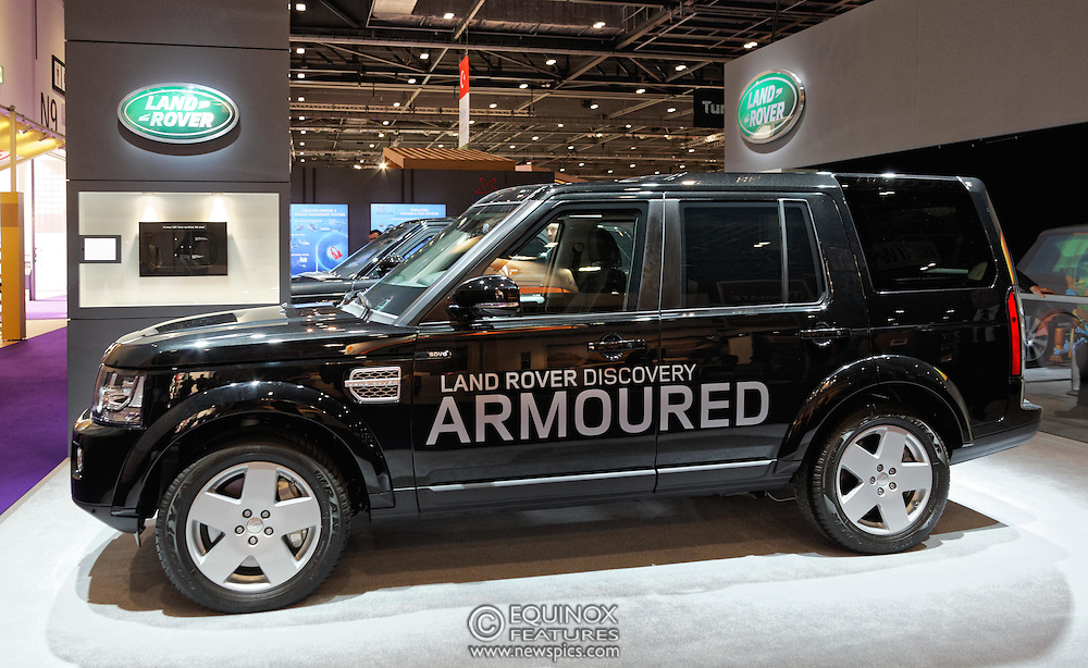 London, United Kingdom - 18 September 2015<br /> Land Rover display their new armoured vehicles, the £300,000 Range Rover Sentinel and the £160,000 Land Rover Discovery Sentinel which is set to be the new standard for UK government vehicle protection, at the defence and security exhibition DSEI at ExCeL, Woolwich, London, England, UK.<br /> (photo by: EQUINOXFEATURES.COM)<br /> <br /> Picture Data:<br /> Photographer: Equinox Features<br /> Copyright: ©2015 Equinox Licensing Ltd. +448700 780000<br /> Contact: Equinox Features<br /> Date Taken: 20150918<br /> Time Taken: 14011598<br /> www.newspics.com
