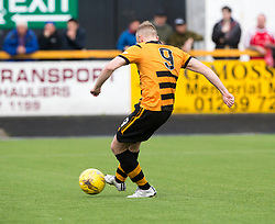 Alloa Athletic's Greg Spence scoring their first goal from a  penalty. half time : Alloa Athletic 2 v 1 Brechin City, Ladbrokes Championship Play-Off 2nd Leg at Alloa Athletic's home ground, Recreation Park, Alloa.