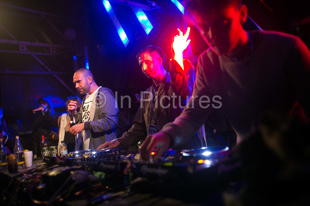 UKF Roni Size b2b Bryan G Dynamite on stage at Heaven in Shangri-la at the Glastonbury Festival 22th July 2016, Somerset, United Kingdom. Shangri-la is a venue at the festival with  art and politics mixed with tunes and all night club nights. Work getting the festival ready takes weeks and in the days up to the festival starts work is frantic.  The Glastonbury Festival runs over 3 days and has 3000 acts, including music, art and performance and approx. 150.000 attend the anual event.