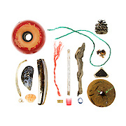 Painted seine net float, bone, Blue Mussel (Mytilus edulis), Razor Clam (Ensis directus), Northern Rock Barnacle (Balanus balanoides), Green Crab (Carcinus maenas), nylon and polymer fishing ropes, lobster trap tag, driftwood, lobster-claw bands, plastic wadding from shotgun shell, Red Pine cone (Pinus resinosa), Irish Moss (Chondrus crispus), stoneware, polystyrene net float