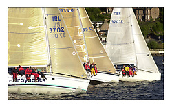 Yachting- The start of the Bell Lawrie Scottish series 2002 at Gourock racing overnight to Tarbert Loch Fyne where racing continues over the weekend.<br /><br />2 Sassy sunfast 37 IRL3702 rolling over the class 3  start.<br />Pics Marc Turner / PFM