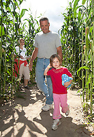 3 1/2 year old Kate Walker leads the way for her mom and dad Bill and Jill Walker as they work their way through the corn maze at Beans and Greens on Sunday.  (Karen Bobotas/for the Laconia Daily Sun)