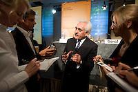 """09 SEP 2008, BERLIN/GERMANY:<br /> Dr. Rangin Dadfar-Spanta, Aussenminister Afganistan, im Gespraech mit Journalisten, Handelsblatt Konferenz """"Security Policy and the Defence Industry"""", Hotel Schweizer Hof<br /> IMAGE: 20080909-01-070"""