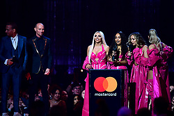 (Left to right) Jesy Nelson, Leigh-Anne Pinnock, Jade Thirlwall and Perrie Edwards of Little Mix accept the award for British Artist Video of the Year on stage at the Brit Awards 2019 at the O2 Arena, London. PRESS ASSOCIATION PHOTO. Picture date: Wednesday February 20, 2019. See PA story SHOWBIZ Brits. Photo credit should read: Victoria Jones/PA Wire. EDITORIAL USE ONLY.