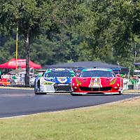 Alton, VA - Aug 26, 2016:  The Scuderia Corsa Ferrari 488 GT3 races through the turns at the Michelin GT Challenge at VIR at Virginia International Raceway in Alton, VA.