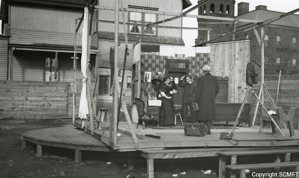 1916 A typical wooden platform stage that was used by Thanhouser Studios in New Rochelle, New York