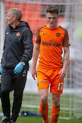 Dundee United's Jamie Robson off injured. Dundee United 1 v 0 Falkirk, Scottish Championship played 14/4/2018 at Dundee United's stadium Tannadice Park.