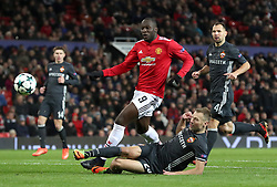 Manchester United's Romelu Lukaku (left) and CSKA Moscow's Vasili Berezutski in action during the UEFA Champions League match at Old Trafford, Manchester.
