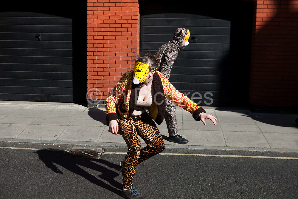 Around 40 activists dressed as animals invaded the PR firm Bell Pottinger My 11th, 2017, in central London, United Kingdom.  The activists want to ecxpose the companys ties with thefracking industry as part of a long running campaign against fracking by the activist group Reclaim the Power called Break the Chain. Animal activists make their way to Bell Pottinger.<br /> The activist spend a short while in the lobby  with zebras throwing leaves, monkeys spreading animal manure and a squid spraying 'ink' on the windows before leaving peacefully.<br /> Bell Pottinger currently represent Centrica which is a major fracking investor in the UK according to the groups press release and the company has in the past helped the fracking company Quadrilla restore their reputation, also according to the press release.