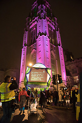 February 6, 2018 - Bristol, Bristol, UK - Bristol, UK.  Women vote 100th anniversary; the University of Bristol Wills Memorial Building is lit with Suffragette colours of purple for the march in Bristol to celebrate the 100th anniversary of women getting the vote in the UK in 1918, following the campaign by the Suffragettes. Hundreds of women and some men marched down Park Street to College Green for a rally and entertainment on the evening of 06 February 2018. (Credit Image: © Simon Chapman/London News Pictures via ZUMA Wire)