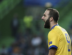 October 31, 2017 - Lisbon, Portugal - Juventus's forward Gonzalo Higuain  reacts  during the Champions League  football match between Sporting CP and Juventus FC at Jose Alvalade  Stadium in Lisbon on October 31, 2017. (Credit Image: © Carlos Costa/NurPhoto via ZUMA Press)