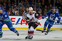 KELOWNA, BC - SEPTEMBER 29:  Brad Richardson #15 of the Arizona Coyotes skates against the Vancouver Canucks at Prospera Place on September 29, 2018 in Kelowna, Canada. (Photo by Marissa Baecker/NHLI via Getty Images)  *** Local Caption *** Brad Richardson