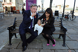 © Licensed to London News Pictures. 27/10/2014<br /> Naushabah Khan and Ed Balls eating Carrot Cake in Rochester High Street,Kent.<br /> Ed Balls, Labour's shadow chancellor,has been in Rochester on the campaign trail  today(27.10.2014)<br /> Mr Balls was joined by Labour candidate Naushabah Khan at Bruno's French Bakes shop in Rochester high Street to meet local people and make Carrot cake with Bruno Breillet  (Pastry Chief) and Naushabah Khan .<br /> Hilary Benn MP, Labour's Shadow Communities and Local Government Secretary was also at the event.<br /> <br /> (Byline:Grant Falvey/LNP)