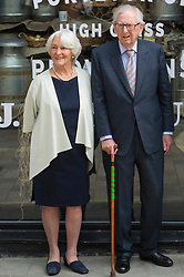 © Licensed to London News Pictures. 22/05/2019. Lord Sainsbury's and Lady Sainsburys visits the Sainsbury's pop-up store in Covent Garden to celebrate the companies 150th anniversary. London, UK. Photo credit: Ray Tang/LNP