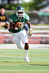 19 September 2015:  Maurice Shoemaker-Gilmore during an NCAA division 3 football game between the Simpson College Storm and the Illinois Wesleyan Titans in Tucci Stadium on Wilder Field, Bloomington IL