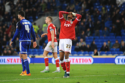 Jonathan Kodjia of Bristol City cuts a dejected figure as his goal is disallowed for offside - Mandatory byline: Dougie Allward/JMP - 07966 386802 - 26/10/2015 - FOOTBALL - Cardiff City Stadium - Cardiff, Wales - Cardiff City v Bristol City - Sky Bet Championship