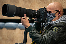 Photographer Klaas Jan vd Weij in action during the first league match in the corona lockdown between Talentteam Papendal vs. Sliedrecht Sport on January 09, 2021 in Ede.