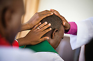 A pastoral candidate is ordained in a service with more than 1,000 worshippers on Sunday, March 15, 2015, at the Evangelical Lutheran Church in Tanzania – South-East of Lake Victoria Diocese's (ELCT-SELVD) Ebenezer Cathedral in Shinyanga, Tanzania. LCMS Communications/Erik M. Lunsford